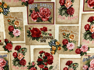 Cotton fabric covered with pink and red roses.