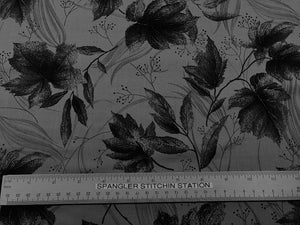 Ruler on fabric to show size of leaves.