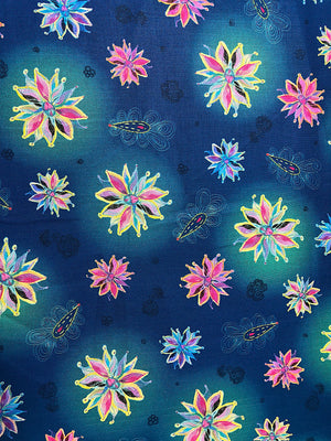 Blue cotton fabric covered with pink, yellow and blue flowers.