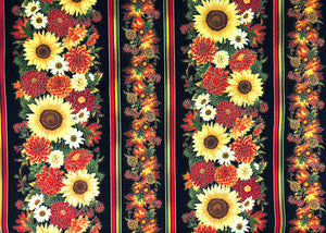 Black cotton fabric covered with rows of fall flowers.