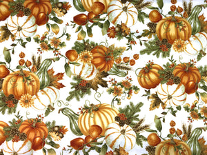 White cotton fabric covered with pumpkins, gourds, leaves and pinecones.
