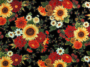 Black cotton fabric covered with fall flowers.