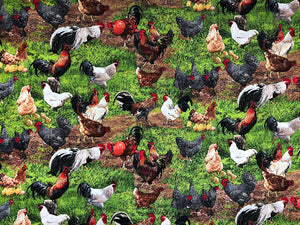 Fabric with roosters, chickens in a grass covered yard.