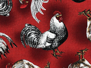 Close up of burgundy cotton fabric covered with french chickens.