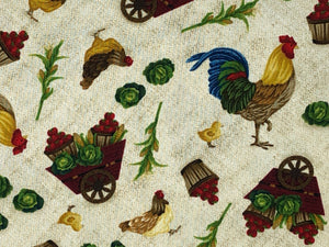 Close up of roosters, apples and more.