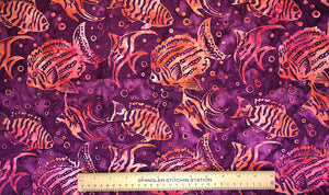 Ruler on cotton batik fabric to show sizing of the fish.