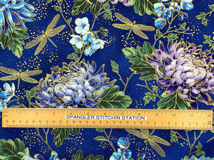 Ruler on fabric to show size of hydrangea.