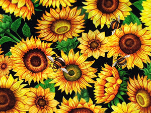 Close up of sunflowers and bees.
