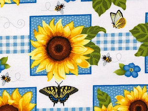 Close up of a sunflower and butterfly