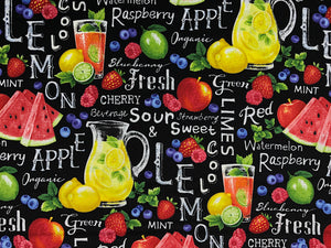 Black cotton fabric covered with lemonade, watermelons, strawberries and blueberries.