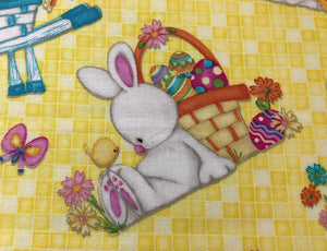 Close up of Hop To It Easter Bunny Fabric