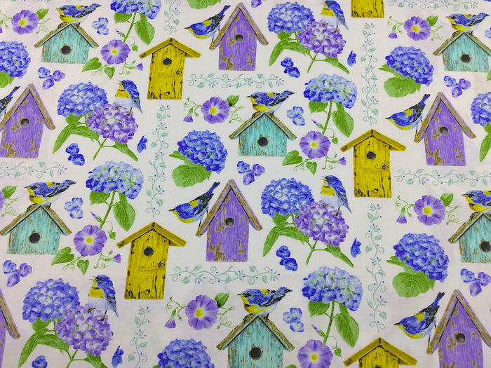 Hydrangea and Bird House Fabric - FL-142