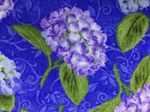 Close up of purple hydrangea and green leaves.