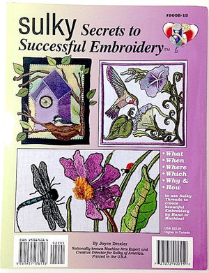 Back of Sulky Secrets to Successful Embroidery book.
