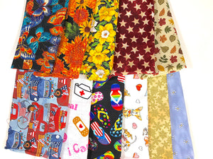 Assorted large pieces of fabric.