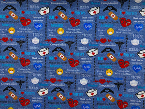 blue cotton fabric covered with nurse sayings and bandaids, stethoscopes, face masks and more.