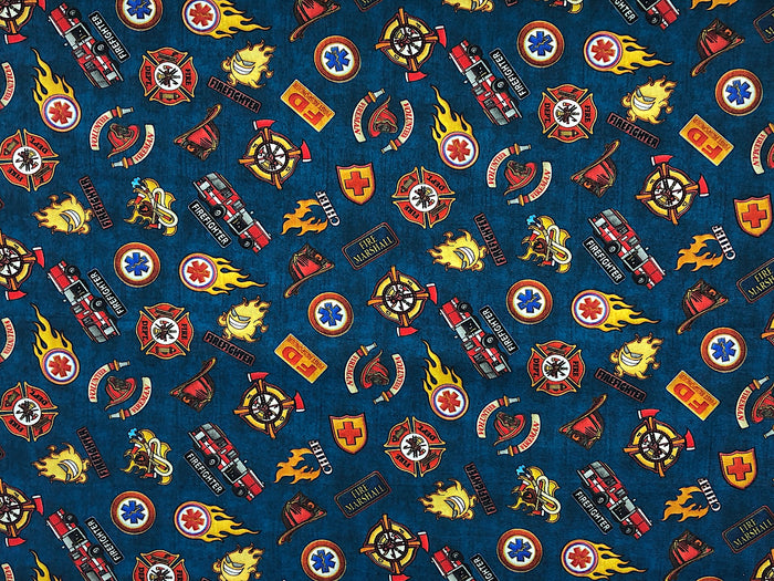5 Alarm Navy Shield Fabric - MISC-103