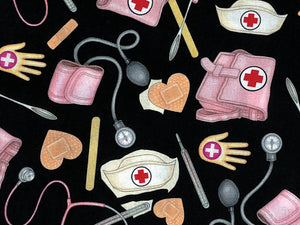 Close up of nursing cap, thermometer, stethoscope and more.