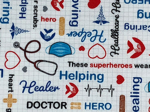 Close up of words such as helping, healer, doctor and more.