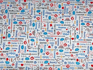 White cotton fabric covered with nurse items such as facemasks, stethoscopes nurse hats and more.