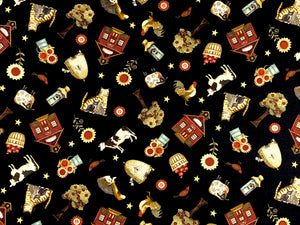Cotton fabric covered with cows, cats, buckets of apples, houses, trees, sheep and more.