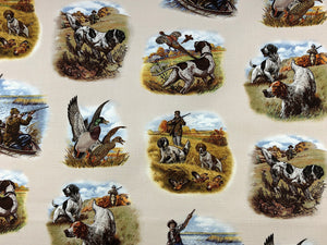 Cotton fabric covered with hunting dogs, birds and people.