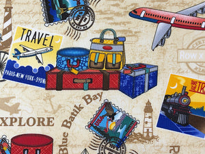 Close up of a stack of luggage and a stamp