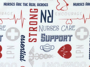 White cotton fabric with nurse logos and sayings all over it.