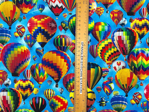 Ruler on fabric to show the size of the hot air balloons.