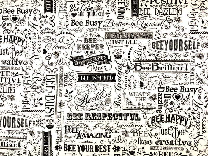 Bee Positive Words Fabric - MISC-93
