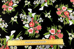 Ruler on fabric to show size of flowers.