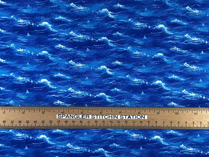 Ruler on Cotton Sea World water fabric.