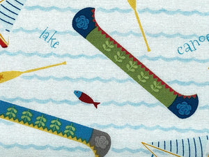 Close up of Lets Go Glamping Canoe fabric