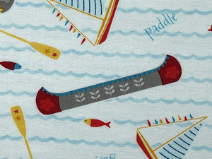 Close up of Let's go Glamping Canoe fabric