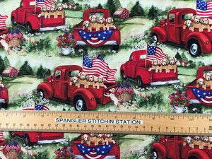 Ruler on fabric that has patriotic pups in a red truck