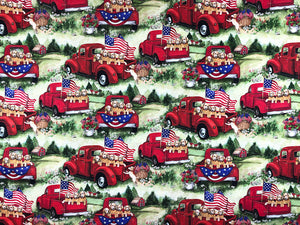 Cotton fabric with patriotic pups in a red truck
