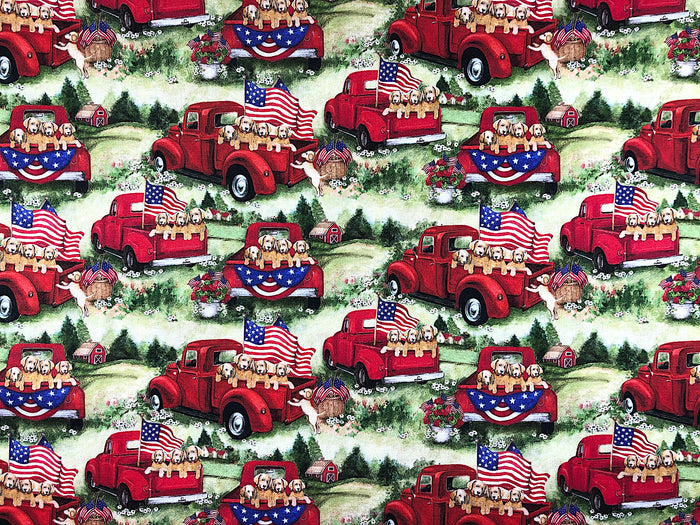 Patriotic Pups in Red Truck - PAT-39