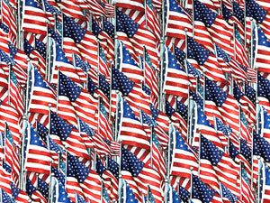 Cotton Fabric covered with USA flags