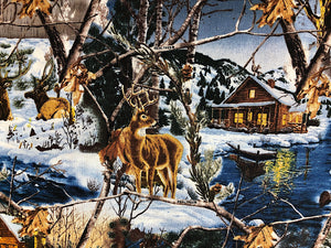 Close up of deer and cabin by the water.