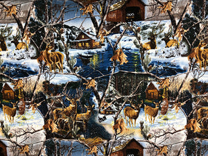 Cotton fabric covered with deer, cabins, trees, water and more.