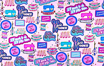 Cool Patches Sewing Themed Fabric - SEW-11
