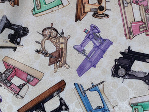 Close up of sewing machines.