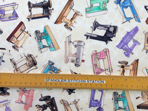 Ruler on fabric to show size of sewing machines.