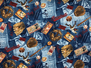 Blue cotton fabric covered with baseballs, mitts, bats and players.