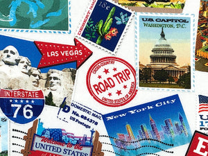 Close up of Washington DC stamp, road trip stamp and more.