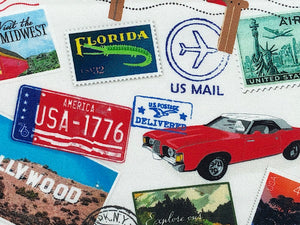 Close up of license plate, car and stamp with a Florida gator on it.
