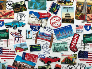 Off white cotton fabric with travel stamps, landmark post cards, cars and more.