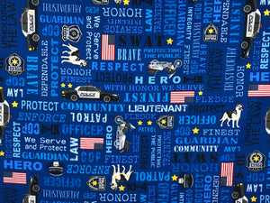Blue cotton fabric covered with police words, motorbikes and words.