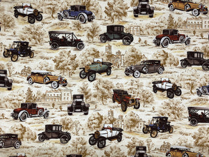 Cream cotton fabric covered with vintage cars.