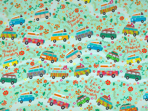 Green cotton fabric covered with vans and flowers.
